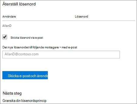 Skärmdump: Skicka återställa lösenord för e-postmeddelanden till användare