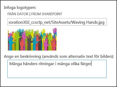 Dialogruta för titel och logotyp för ny webbplats i SharePoint Online som visar hur du skapar alternativ text för en logotypbild