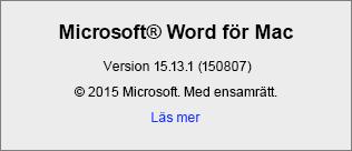 Skärmbild som visar Om Word-sidan i Word för Mac