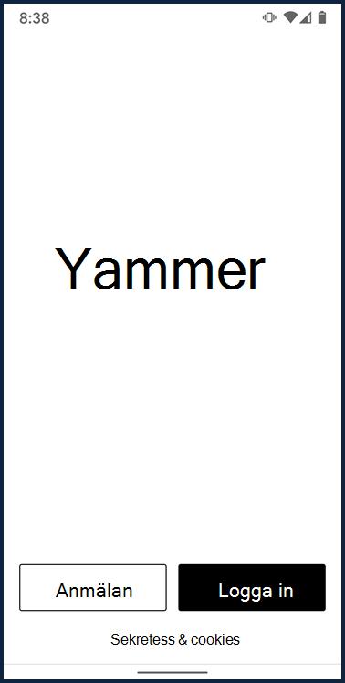 Skärm bild som visar inloggnings skärmen för Yammer Android-appen