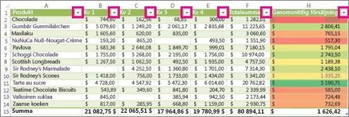 En Excel-tabell som visar inbyggda filter