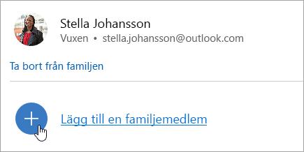 En skärmbild av knappen Lägg till en familjemedlem