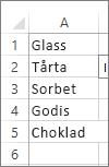 värdelista för användning i en kombinationsruta
