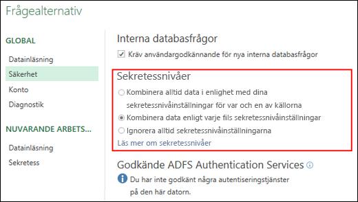 Power Query – Inställningar för inaktivering av sekretessnivåfrågor på datornivå (inklusive registernyckel)