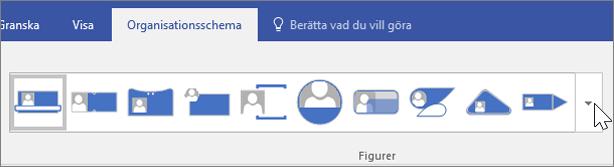 Skärmbild av verktygsfältet Organisationsschema