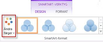 Ändra alternativet Färger i gruppen SmartArt-format