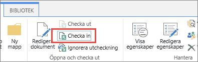 knapp och verktygstips för incheckning av dokument