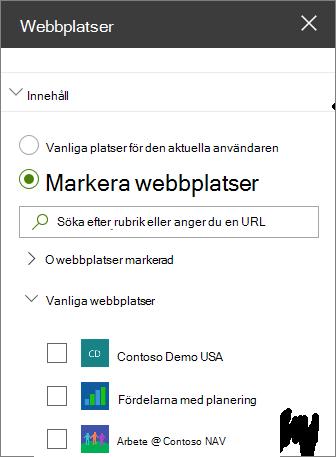 Webbplatser webbdel inställningar