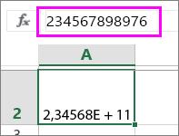 ett numeriskt värde visas som exponentiellt när det har tolv eller fler siffror