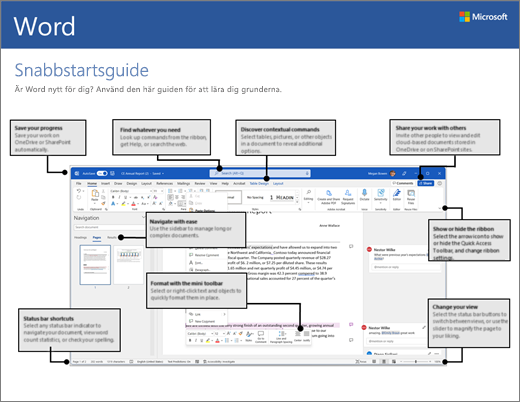 Snabbstartsguide för Word 2016 (Windows)