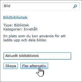 Dialogruta Skapa bildbibliotek med Fler alternativ markerat