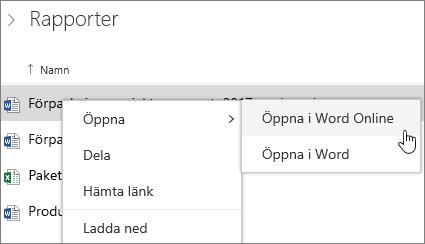 Öppna fil i Word Online på OneDrive