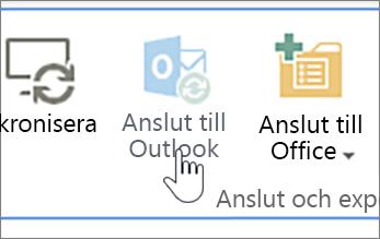 Menyflik med knappen Anslut till Outlook inaktiverad och markerad