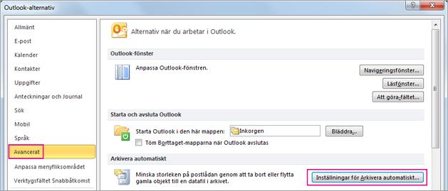 Välj Avancerat och välj sedan Inställningar för arkivera automatiskt.