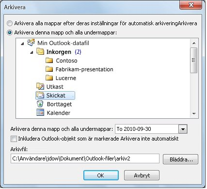 Dialogrutan Arkivera