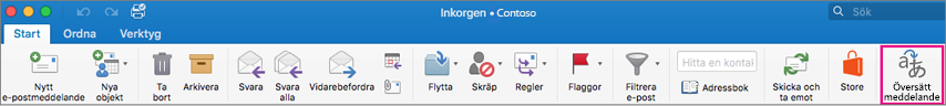 Knappen Översätt i menyfliksområdet i Outlook för Mac