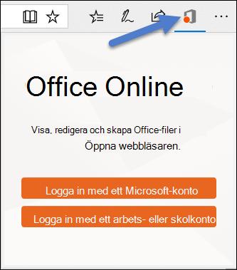 Dialog rutan för inloggning för Office Online-tillägget i Edge