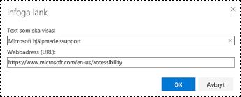 Dialog rutan hyperlänk i Outlook på webben.
