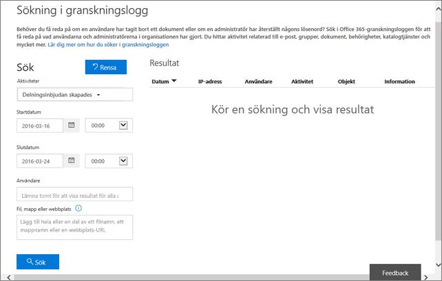 Office 365-aktivitetsrapport filtrerad för att skapa inbjudan