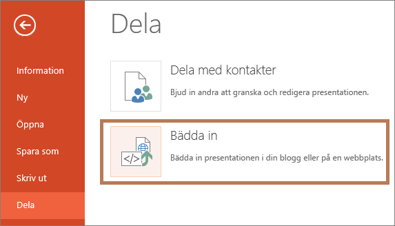Bädda in en PowerPoint-presentation