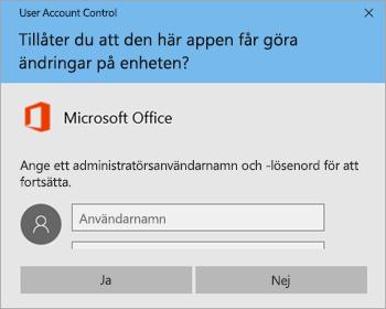 Skärmbild som visar fönstret User Account Control
