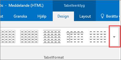 Skärmbild av de första sex tabellformaten och knappen Mer för att visa alla tabellformaten.