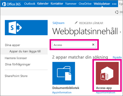 Söker efter ett Access-program från sidan Lägg till ett program i SharePoint