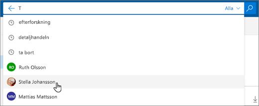 En skärmbild på föreslagna personer i sökresultatet