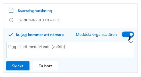 En skärmbild av meddela organizer växlingsknappen