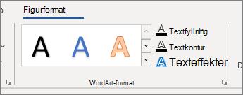 Gruppen WordArt-format med alternativ