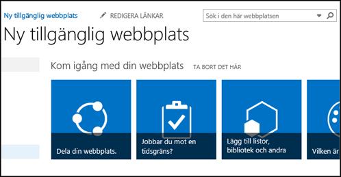 Skärmbild av ny SharePoint-webbplats med paneler som används för att anpassa webbplatsen