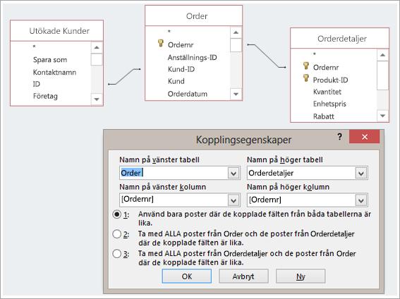 Skärmbild av tre tabeller och deras kopplingsegenskaper