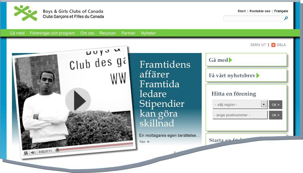 Ögonblicksbild av BGCC-webbplatsen