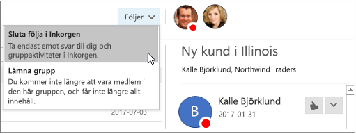 Knappen i rubriken grupp i Outlook 2016 prenumerera