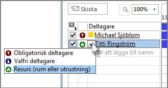 Klicka på ikonen till vänster om namnet och klicka sedan på Resurs