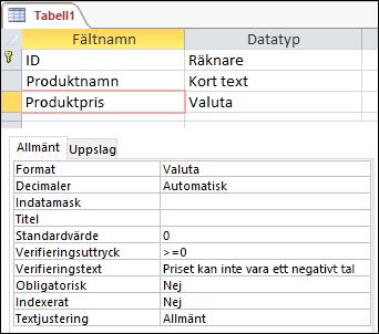 Fältverifieringsuttryck som visas i tabelldesignern i Access