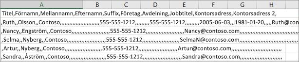 Ett exempel på en CSV-fil som sparats i .xls-format.