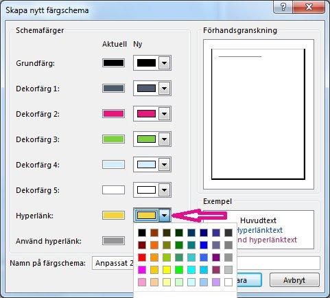 Skapa nytt färgschema i Publisher för att byta färg på hyperlänkar