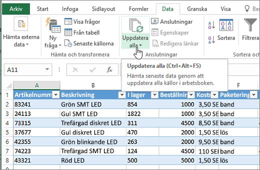 Excel-kalkylblad med importerad lista och knappen Uppdatera alla markerad.