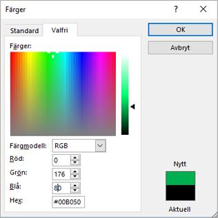 Visar anpassade färger