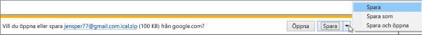 Välj en plats där du vill spara den exporterade Google-kalendern.