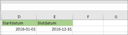 Startdatum i cell D53 är 2016-01-01, slutdatum är i cell E53 och är 2016-12-31