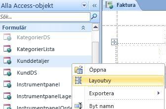 Öppna ett webbformulär eller rapport i layoutvyn