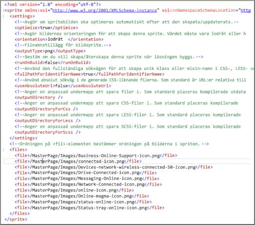 Skärmbild av sprite-XML-fil