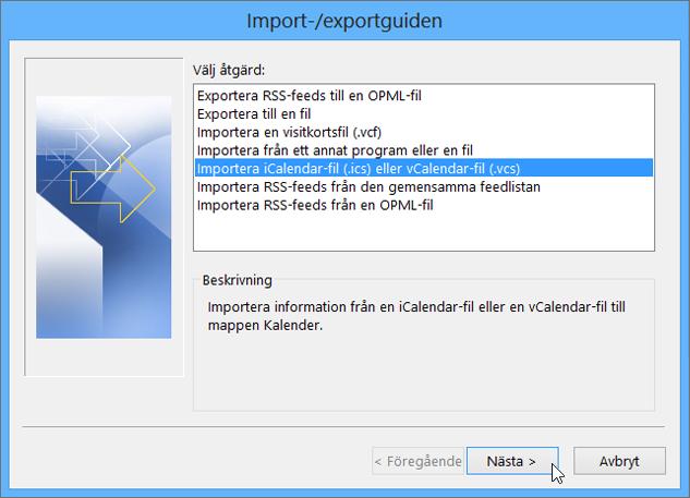 Välj Importera en iCalendar- eller vCalendar-fil.