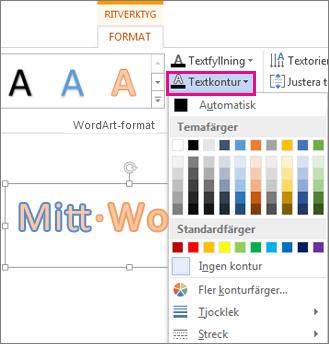 Galleriet Textkonturfärg på fliken Format under Ritverktyg