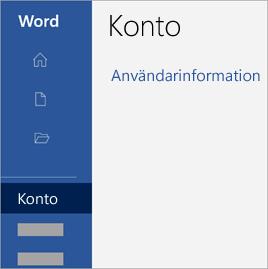 Skärmbild av kontoområdet i ett Office-program