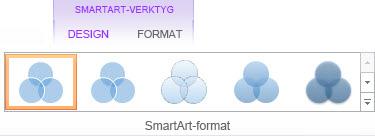Gruppen SmartArt-format på fliken Design för SmartArt-verktyg