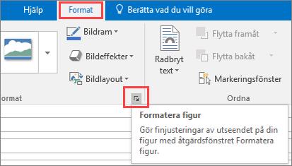 Skärmurklipp från Outlook-användargränssnittet som visar fliken Format med alternativet Formatera figur markerat.