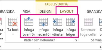 Bild av layoutalternativ för att lägga till rader och kolumner i tabeller